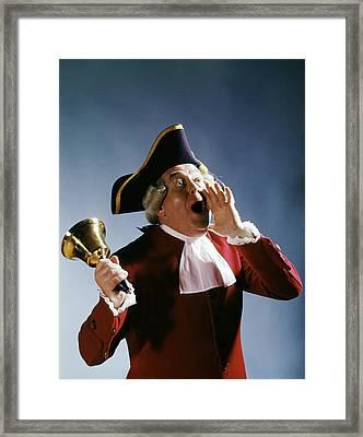 1970s Man Colonial Town Crier 18th Framed Print