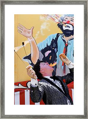 1970s Man In Tuxedo Performing Fire Framed Print