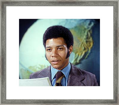 1970s Man Newscaster Reporter Tv Framed Print