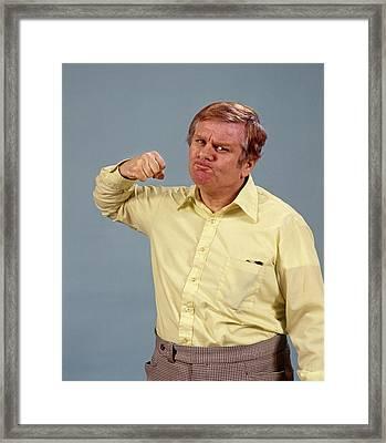 1970s Man Raising Fist Angry Framed Print