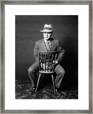 1970s Man Seated Backwards On Chair Framed Print