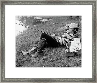 1970s Man Sleeping Against A Tree Trunk Framed Print