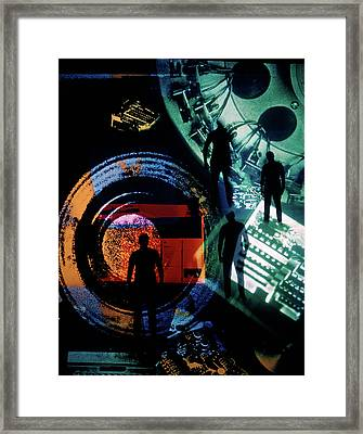1970s Montage Image Of Anonymous Men Framed Print