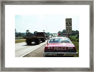 1970s Police Car With Radar Gun Framed Print