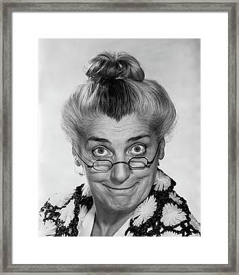 1970s Portrait Elderly Woman With Hair Framed Print