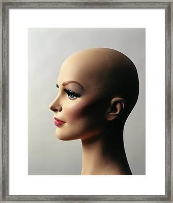 1970s Profile Of Bald Female Mannequin Framed Print