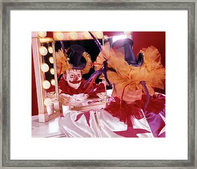 1970s Reflection Of Man Dressed Framed Print