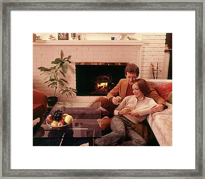 1970s Romantic Couple Man And Woman Framed Print