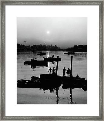 1970s Silhouetted Anonymous People Framed Print