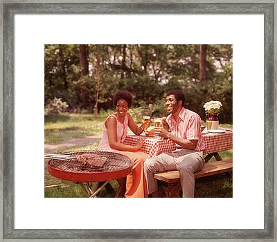 1970s Smiling African American Couple Framed Print