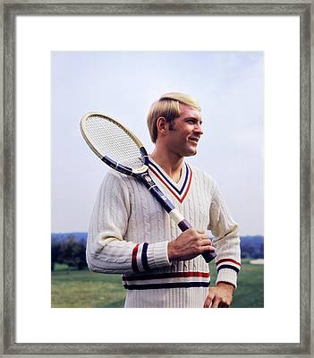 1970s Smiling Blonde Man Wearing Cable Framed Print