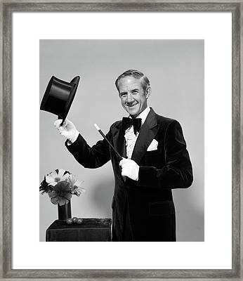 1970s Smiling Man Magician Wearing Framed Print