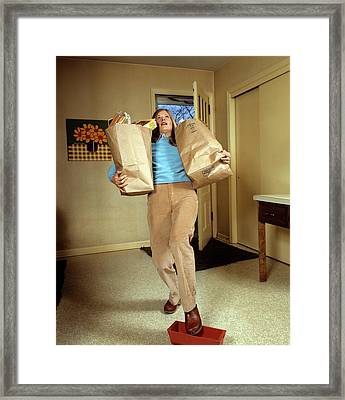 1970s Woman Holding Grocery Bags Framed Print