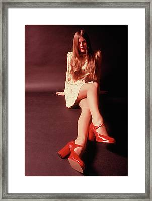 1970s Woman Long Auburn Hair Mini Skirt Framed Print