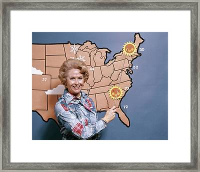 1970s Woman Reporting Weather Pointing Framed Print