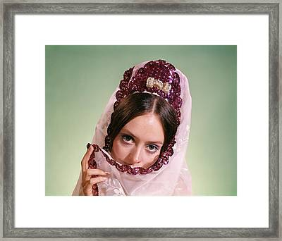 1970s Young Woman Hiding Part Of Face Framed Print