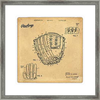 1971 Baseball Glove Patent Art Latina For Rawlings 1 Framed Print by Nishanth Gopinathan