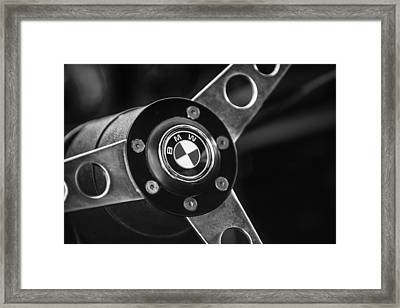 1971 Bmw 3.0csl Lightweight Prototype - Steering Wheel Emblem -0498bw Framed Print by Jill Reger