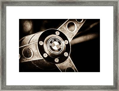 1971 Bmw 3.0csl Lightweight Prototype - Steering Wheel Emblem -0498s Framed Print by Jill Reger