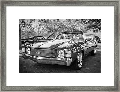 1971 Chevrolet Chevelle Ss Ls1 Convertible Bw Framed Print