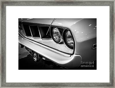 1971 Plymouth Cuda Black And White Picture Framed Print