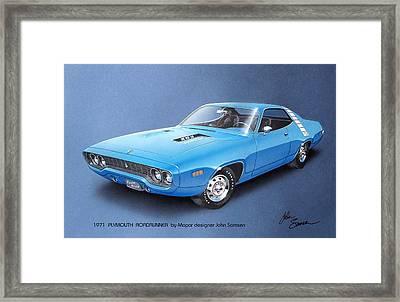 1971 Roadrunner Plymouth Muscle Car Sketch Rendering Framed Print by John Samsen