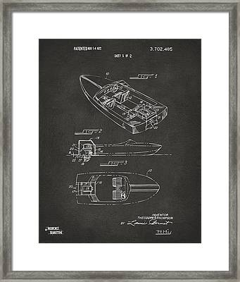 1972 Chris Craft Boat Patent Artwork - Gray Framed Print by Nikki Marie Smith