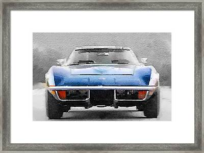 1972 Corvette Front End Watercolor Framed Print by Naxart Studio
