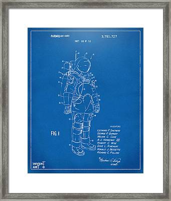 1973 Space Suit Patent Inventors Artwork - Blueprint Framed Print