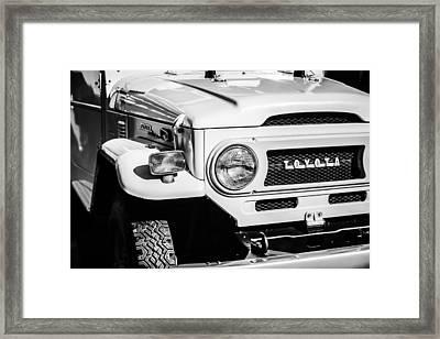 1973 Toyota Fj40 Land Cruiser Grille Emblem -1918bw Framed Print by Jill Reger