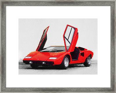 1974 Lamborghini Countach Open Doors Watercolor Framed Print
