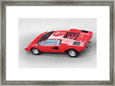 1974 Lamborghini Countach Watercolor Framed Print by Naxart Studio