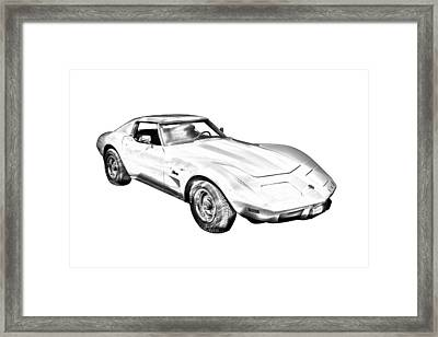 1975 Corvette Stingray Sports Car Illustration Framed Print