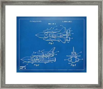 1975 Space Shuttle Patent - Blueprint Framed Print by Nikki Marie Smith