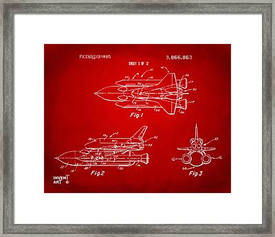 1975 Space Shuttle Patent - Red Framed Print