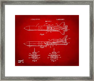 1975 Space Vehicle Patent - Red Framed Print