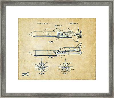 1975 Space Vehicle Patent - Vintage Framed Print by Nikki Marie Smith