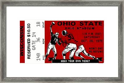 1979 Ohio State Vs Wisconsin Football Ticket Framed Print