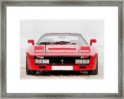 1980 Ferrari 288 Gto Front Watercolor Framed Print by Naxart Studio