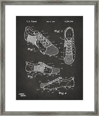 1980 Soccer Shoes Patent Artwork - Gray Framed Print by Nikki Marie Smith