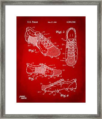 1980 Soccer Shoes Patent Artwork - Red Framed Print by Nikki Marie Smith