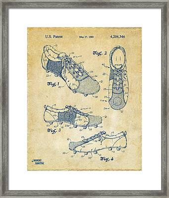 1980 Soccer Shoes Patent Artwork - Vintage Framed Print by Nikki Marie Smith