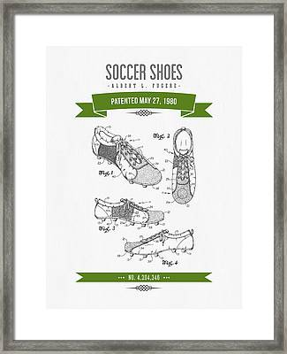 1980 Soccer Shoes Patent Drawing - Retro Green Framed Print