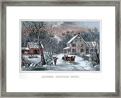1980s American Homestead Winter - Framed Print
