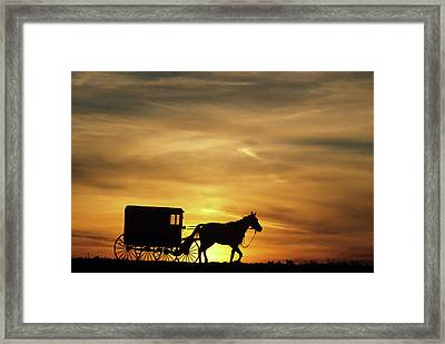 1980s Amish Horse And Buggy Silhouetted Framed Print