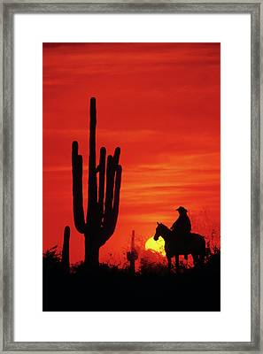 1980s Anonymous Cowboy Riding On Horse Framed Print