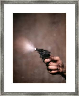 1980s Blur Motion Of A Hand Shooting Framed Print