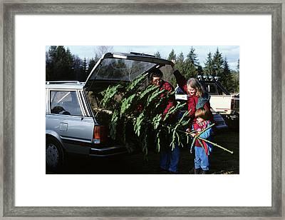 1980s Family Christmas Tree Car Framed Print