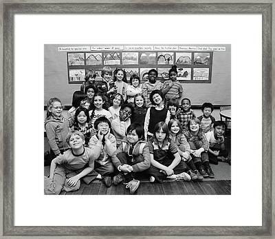 1980s Group Portrait Of Grade School Framed Print