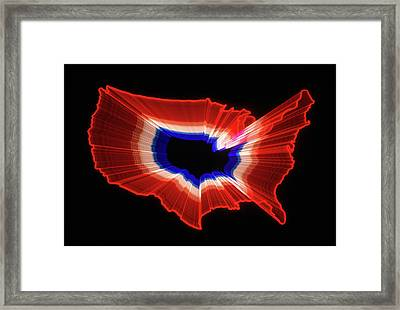 1980s Luminous Zoomed Red White Framed Print